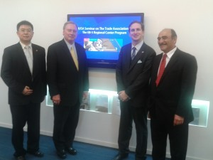 Kelvin Ma (IIUSA International Committee Chair), Tom Loeffler (IIUSA Government Affairs, Partner at Akin Gump Hauer Strauss & Feld, LLP), Peter D. Joseph (IIUSA Executive Director), and Harley Seyedin (President, American Chamber of Commerce in South China) in Guangzhou.