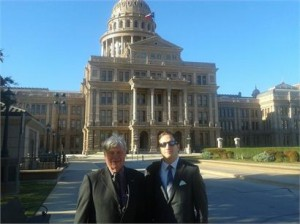 Bob Honts (IIUSA Secretary-Treasurer) and Peter D. Joseph (IIUSA Executive Director) in front of the Texas State Capitol Building.