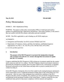 """""""Key Points from USCIS EB-5 Policy Memo published May 30, 2013"""" by Robert C. Divine, IIUSA VP"""