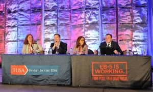 """General Session Panel """"Industry Best Practices: History Lesson & Look Ahead"""" at the 5th Annual EB-5 Market Exchange, October 23, 2015 in Dallas, TX. From left to right: Dawn M. Lurie ( Polsinelli), Chad Ellsworth (Fragomen, Del Rey, Bernsen & Loewy, LLP) Mary King (New York City Regional Center) and David Souders (Todd & Associates, Inc.)."""