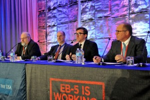 """General Session Panel """"Regional Center Compliance: A Systemic Approach to Long Term Success"""" at the 5th Annual EB-5 Market Exchange, October 22, 2015 in Dallas, TX. From left to right: Daniel B. Lundy (Klasko immigration Law Partners, LLP), Reid Thomas (NES Financial), Daniel Healy (Civitas Capital Group) and Mark Giresi (U.S. Immigration Fund)."""