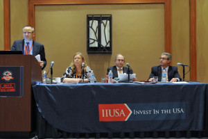 """Breakout Session Panel """"EB-5 Litigation: The Latest from Court Proceedings Relevant to Policy"""" at the 5th Annual EB-5 Market Exchange, October 23, 2015 in Dallas, TX. From left to right: Cletus Weber (Peng & Weber, PLLC), Susan Pilcher (Stone Grzegorek & Gonzalez LLP), Ira Kurzban (Kurzban Kurzban Weinger, Tetzeli and Pratt P.A.) and John Pratt (Kurzban Kurzban Weinger, Tetzeli and Pratt P.A.)."""
