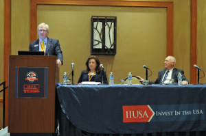 """Breakout Session Panel """"P3: EB-5 in the Development finance Toolbox Through Public Private Partnerships"""" at the 5th Annual EB-5 Market Exchange, October 23, 2015 in Dallas, TX. From left to right Bill Stenger (Jay Peak Resort), Beth Zafonte (Akerman LLP) and Karl Zavitkovsky (City of Dallas)."""