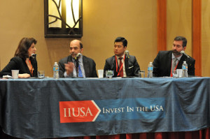"""Breakout Session Panel """"RC vs. Direct EB-5: Why Most Investors Choose Regional Centers but Some Don't"""" at the 5th Annual EB-5 Market Exchange, October 22, 2015 in Dallas, TX. From left to right:Mona Shah (Mona Shah & Associates), Jason Brown (Lucky's Market), Thomas Lee (M&D Regional Center) and Nic Applegate (Gate Industries)"""