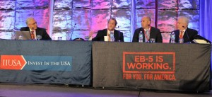 """General Session Panel """"EB-5 Case Studies: Lessons Learned from the Good & Bad"""" at the 5th Annual EB-5 Market Exchange, October 22, 2015 in Dallas, TX. From left to right: K. David Anderson (WORC Regional Centers), Al Rattan ( USA Continental Regional Center), Robert Kraft (First Pathway Partners, LLC) and Patrick Hogan (CMB Regional Centers)."""