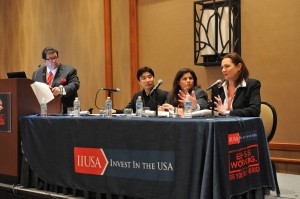 """Breakout Session Panel """"Investor Source of Funds, Pre-Immigration tax Planning & Post-Immigration Tax Compliance"""" at the 5th Annual EB-5 Market Exchange, October 22, 2015 in Dallas, TX. From left to right:Ed Beshara (Beshara, P.A.), Charley Huang (PKF Consulting), Jana Aristizabal ( Marcum LLP), and Rana Jazayerli (Phillips Lytle LLP)"""