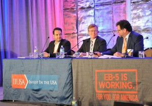 """General Session Panel """"EB-5 Visa Demand: An Update from the Department of State"""" at the 5th Annual EB-5 Market Exchange, October 22, 2015 in Dallas, TX. From left to right: Nima Korpivaara (David Hirson & Partners, LLP), Charles Oppenheim (U.S. Department of State) and Bernard Wolfsdorf (Wolfsdorf Rosenthal LLP)"""