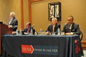"""Breakout Session Panel """"Investor Market Diversification: Looking Beyond China to Emerging Hot Spots of Demand"""" """" at the 5th Annual EB-5 Market Exchange, October 22, 2015 in Dallas, TX. From left Bill Cook (Global Migration Law Group PLLC), Ken Wright (Baker & Hostetler LLp) Charles Raethner (AmLaw Group) and Ronit Sharma ( Henley & Partners, Ltd.)"""