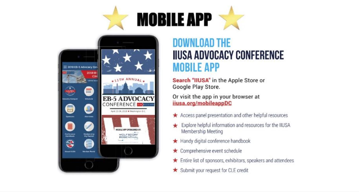 Heading to the EB-5 Advocacy Conference? Download the Mobile App Today!