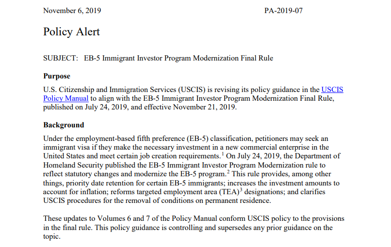 USCIS Updates EB-5 Policy Manual to Conform with the EB-5 Immigrant Investor Program Modernization Final Rule