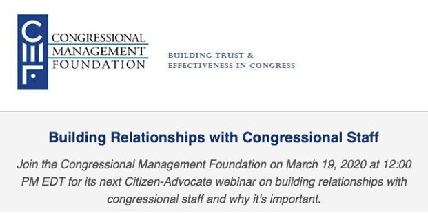 Member-Exclusive Webinar Opportunity from the Congressional Management Foundation