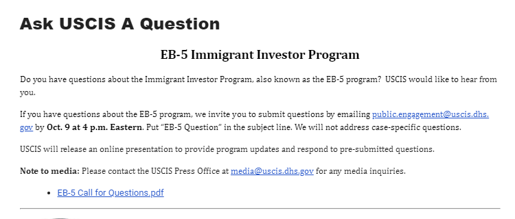 USCIS Invites You to Ask Questions About the EB-5 Program