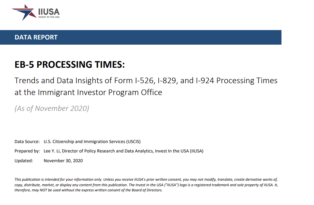 IIUSA Data Report: EB-5 Processing Times Showed Signs of Improvement in November 2020