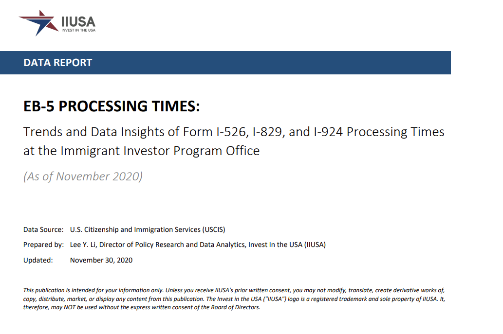 IIUSA Data Report: EB-5 Processing Times Exhibited Different Levels of Decline in November 2020