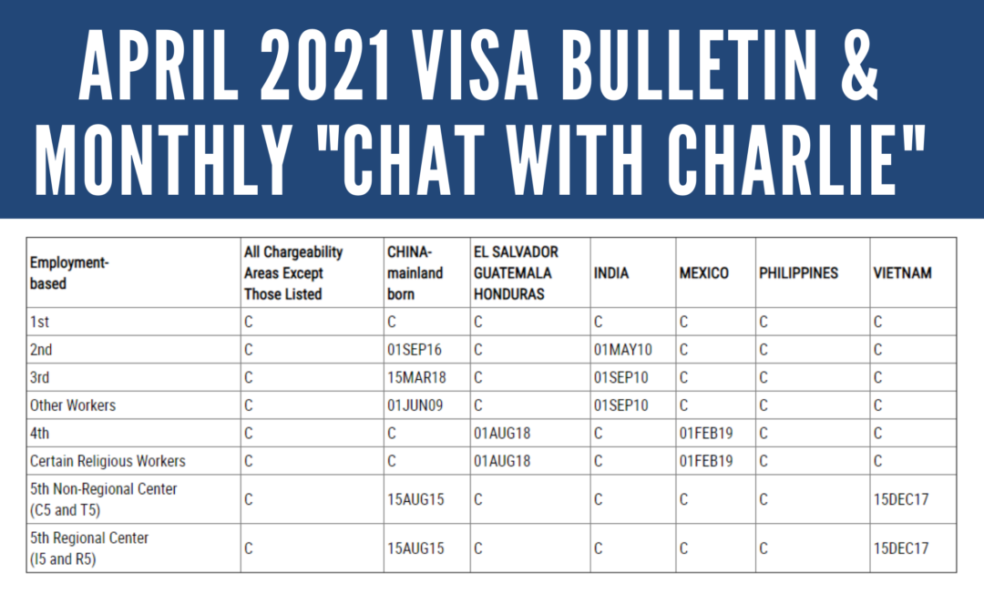 "April 2021 Visa Bulletin: Continued Advancement for Vietnam EB-5 Dates; ""Live Chat with Charlie"" on YouTube"