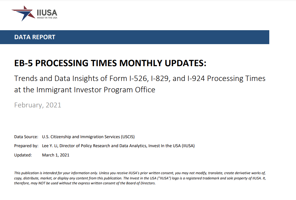 Data Report: EB-5 Processing Times Monthly Update for February 2021