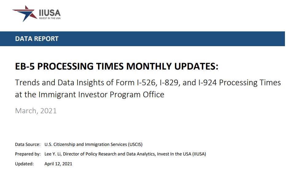 Data Report: EB-5 Processing Times Monthly Update for March 2021