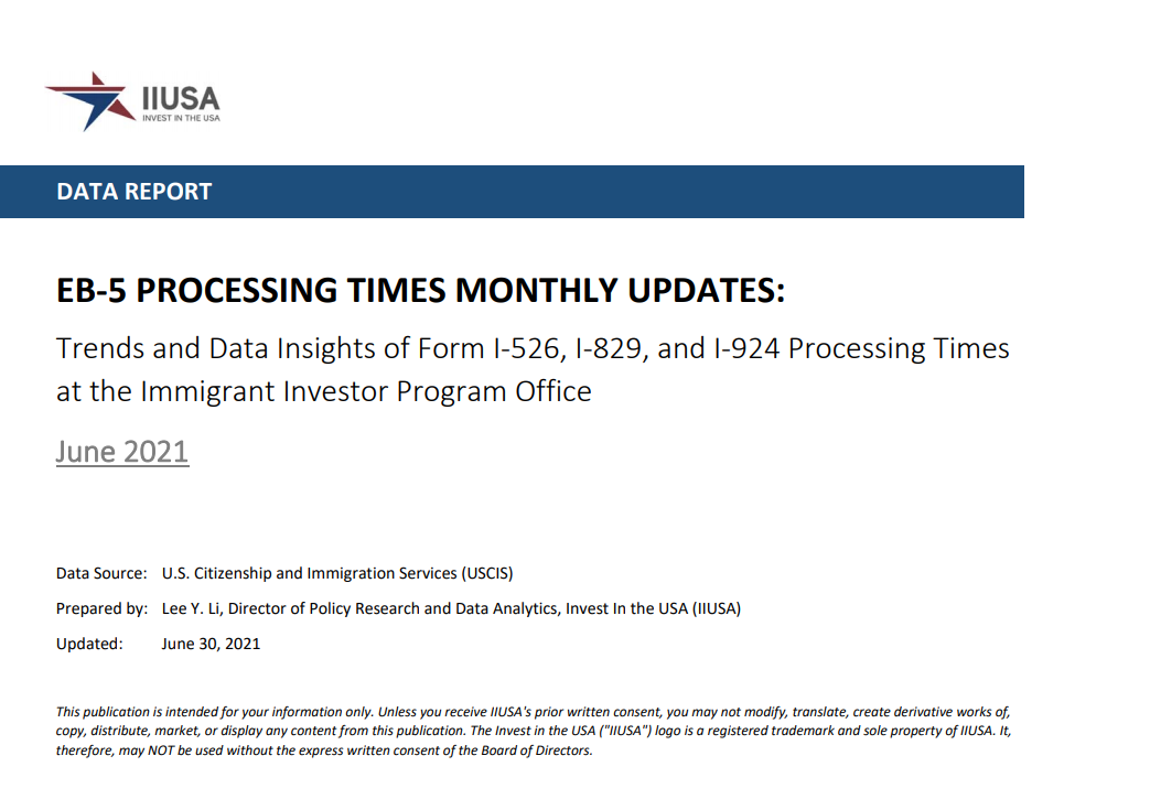 Data Report: EB-5 Processing Times Monthly Update for June 2021